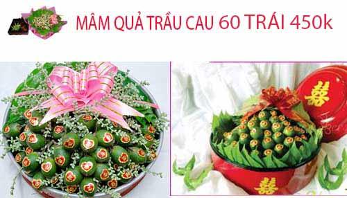 mâm quả trầu cau ngày cưới loại 60 trái
