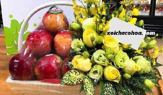 Hình ảnh minh họa giỏ trái cây cúng khai trương và hoa mừng khai trương