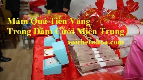 Hình ảnh mâm quả tiền vàng trong bộ mâm quả cưới miền Trung gồm những gì
